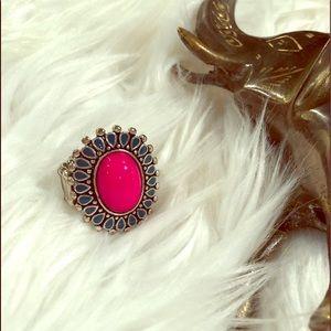 🐘Ladies Silvertone & Pink Boho Adjustable Ring